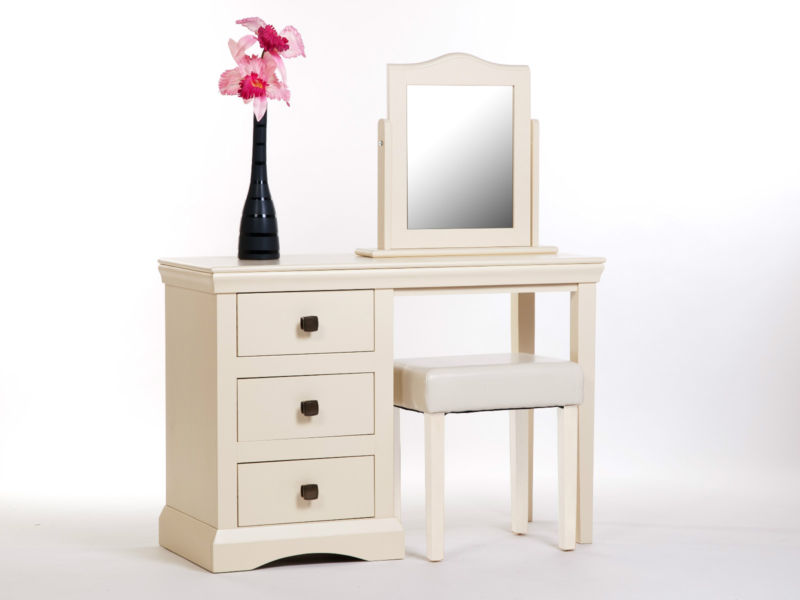 Abigail Cream Painted Dressing Table With Mirror And Stool