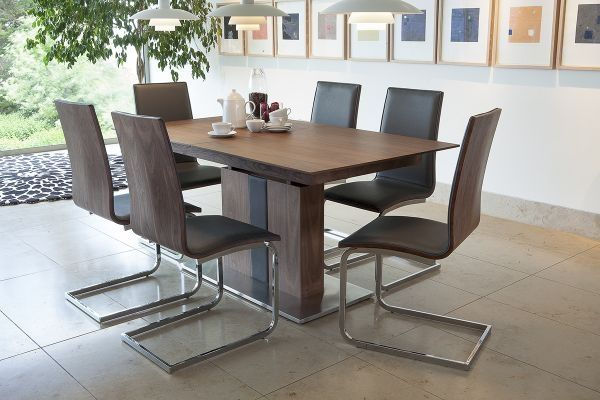 almara walnut steel extending dining table 6 chairs