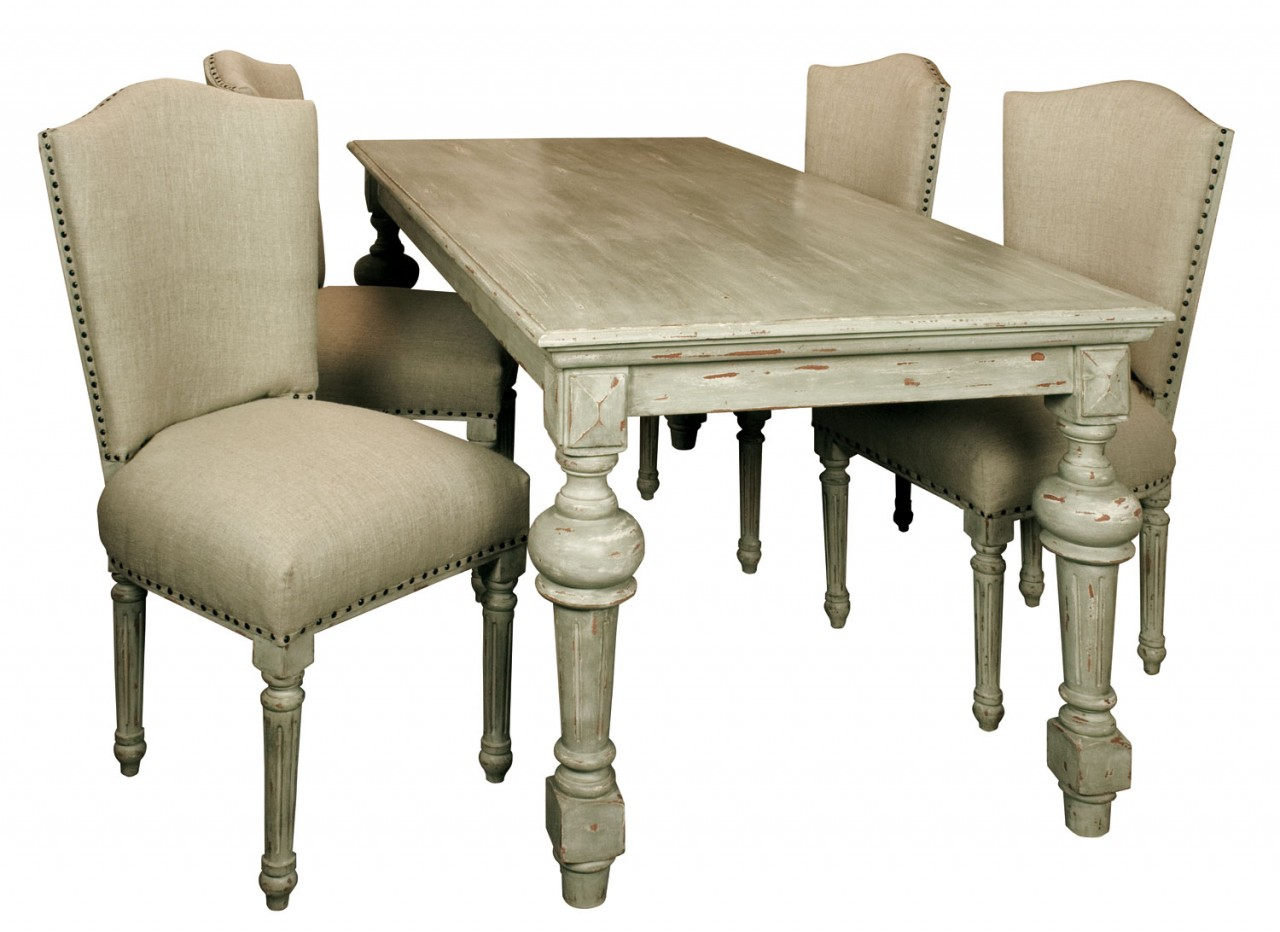 Parquetry Dining Table Images Parquetry Dining Table  : amberly cream distressed french dining table set of four dining linen upholstered chairs 19176 p from favefaves.com size 1280 x 932 jpeg 155kB