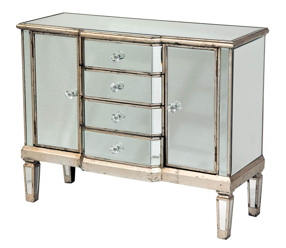 Shabby french vintage style mirrored glass sideboard cabinet dresser silver ebay Mirror glass furniture