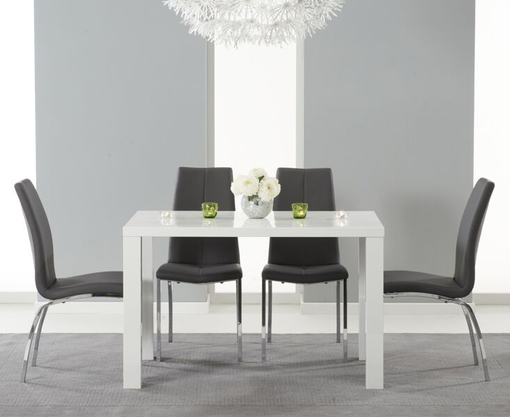 Ava White High Gloss White 120cms Rectangular Dining Table