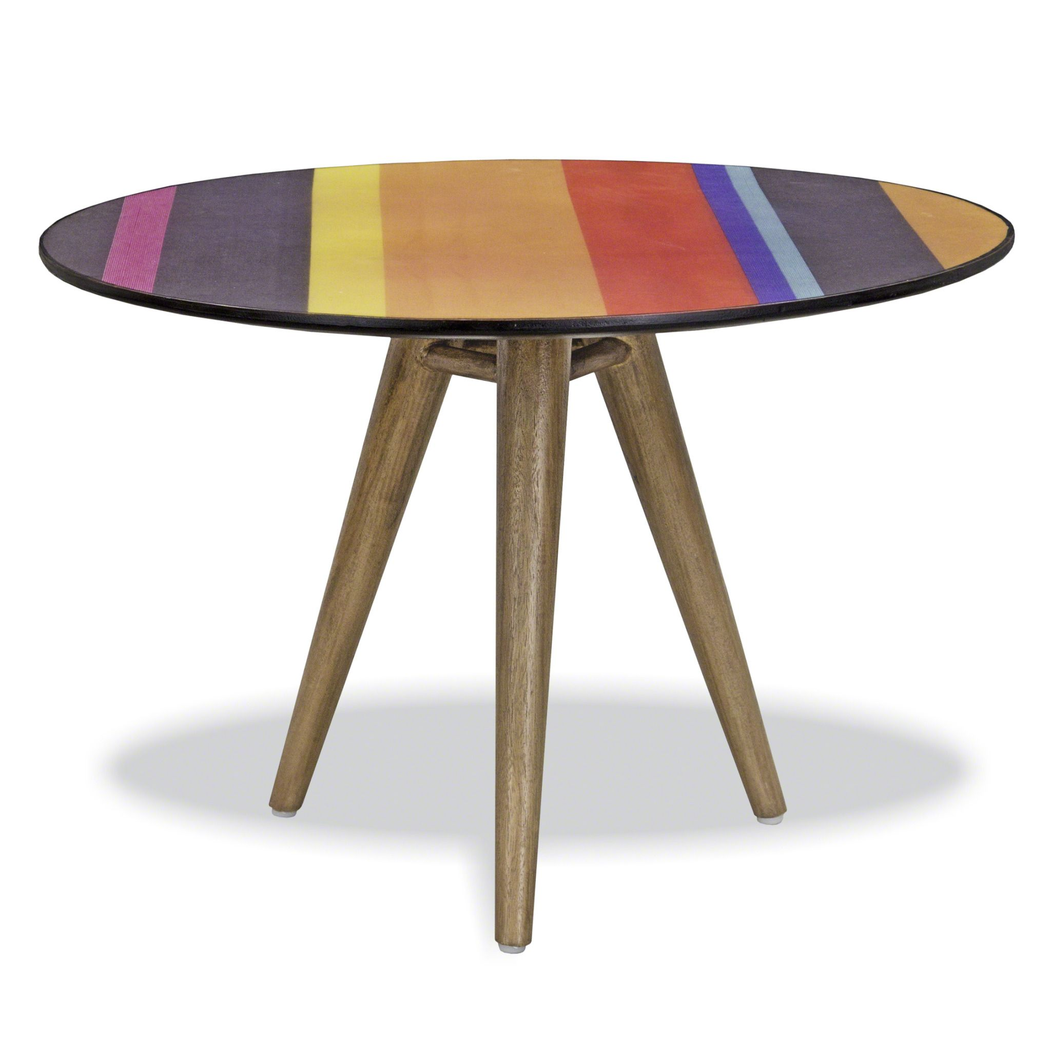 Bayadere Multi Coloured Bright Striped Round Coffee Table. Full resolution‎  snapshot, nominally Width 2048 Height 2037 pixels, snapshot with #9B8730.