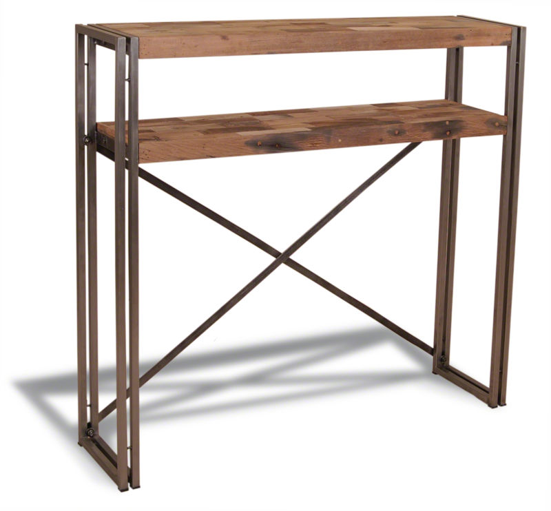 Calabar urban reclaimed wood amp cast iron cross back console table