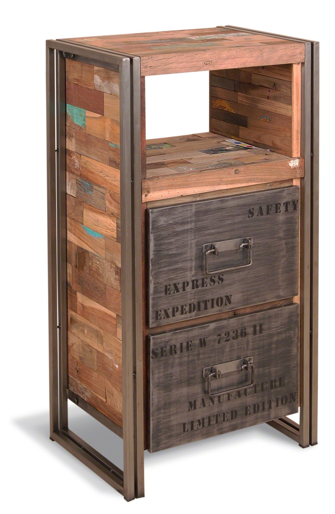 Calabar Urban Reclaimed Wood & Cast Iron High Chest With