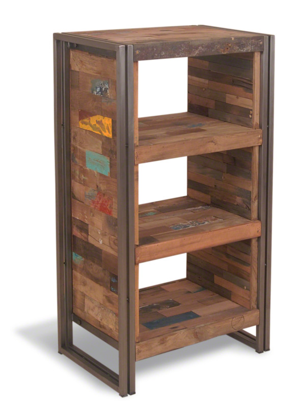Calabar Urban Reclaimed Wood amp Cast Iron High Open Shelving Unit