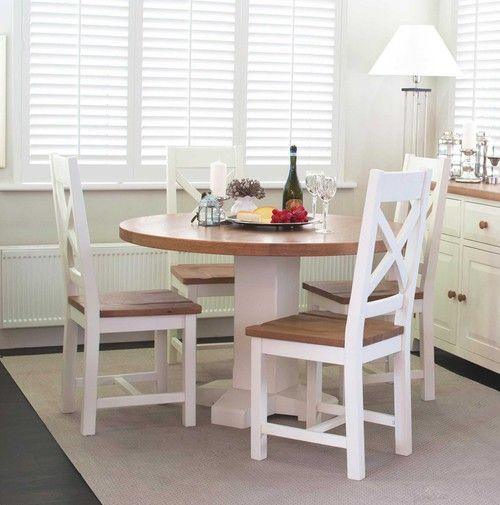 Chaumont Ivory Oak Country Style Round Dining Table Four Chairs