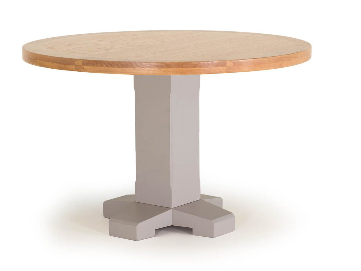 grey oak country style round pedestal dining table seats upto 4