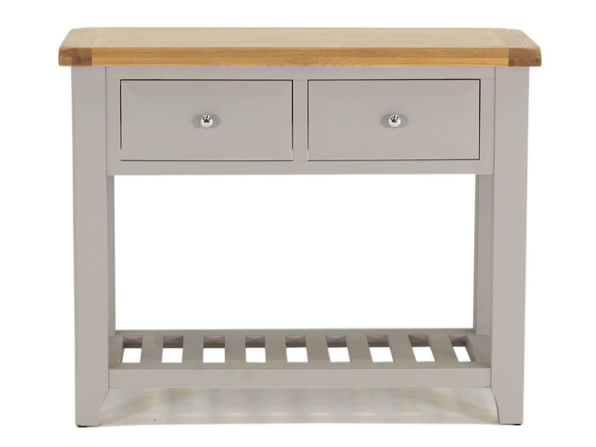 Clemence grey amp oak country style two drawer console table