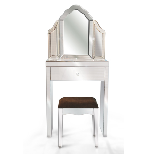 Glass dressing table for Small mirrored dressing table set