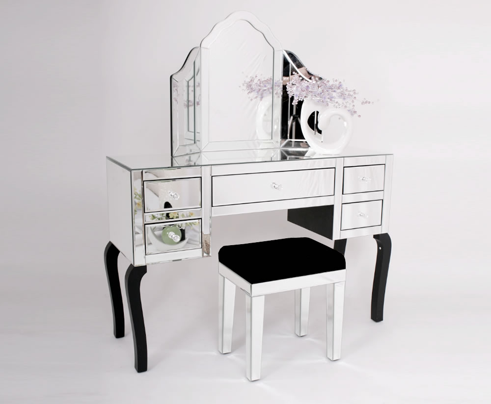 Complete Venetian Mirrored Glass Dressing Table Set With