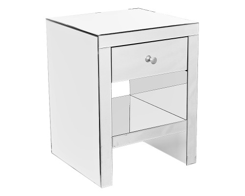 Contemporary Mirrored Venetian Glass Bedside Table With Shelf