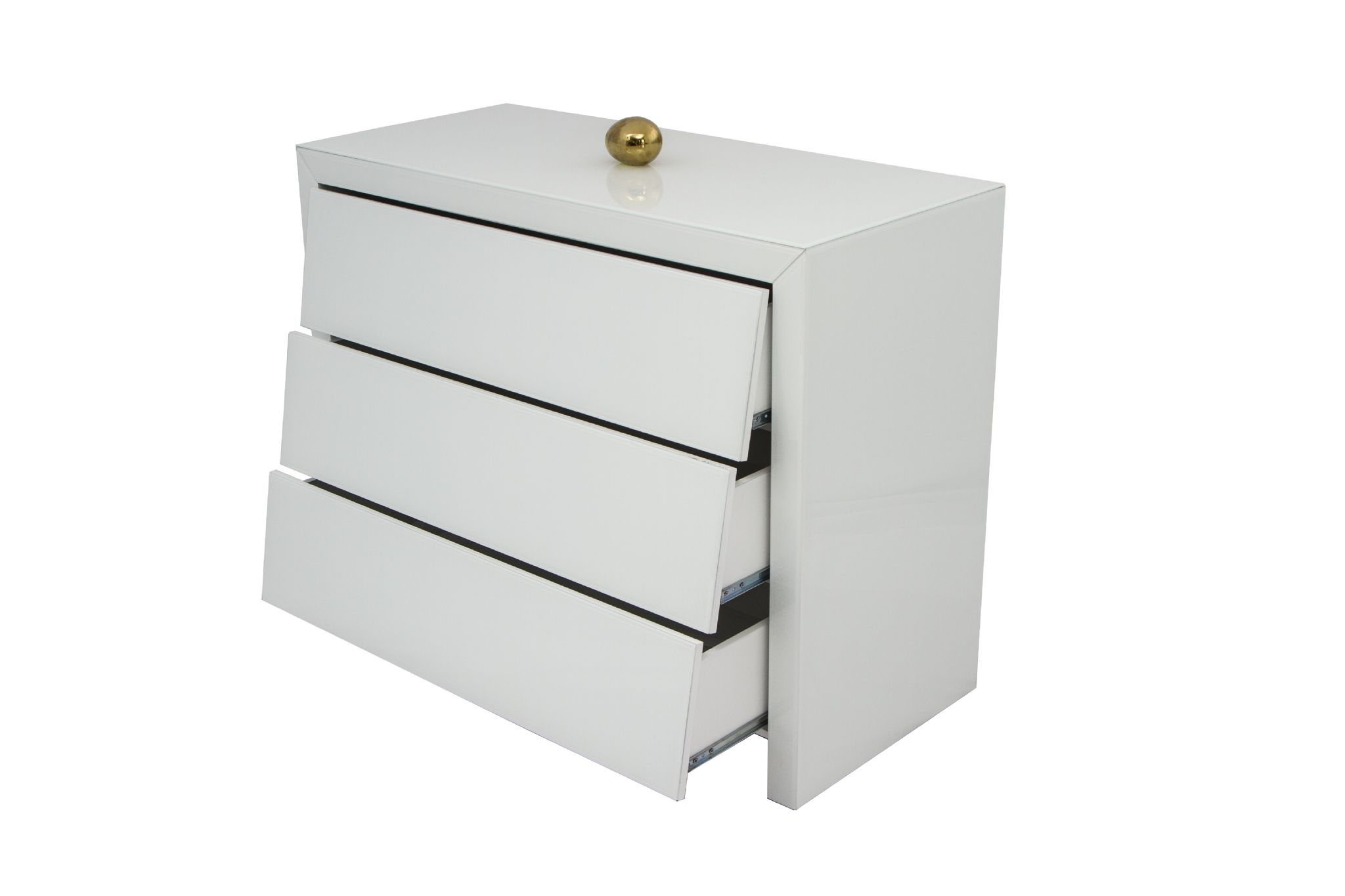contemporary white mirrored glass angle chest of drawers