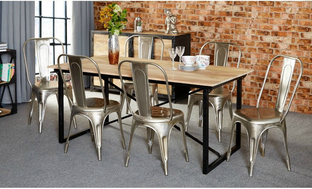 Cosmo Industrial Reclaimed Wood And Metal 6ft Rectangular Dining Table EBay