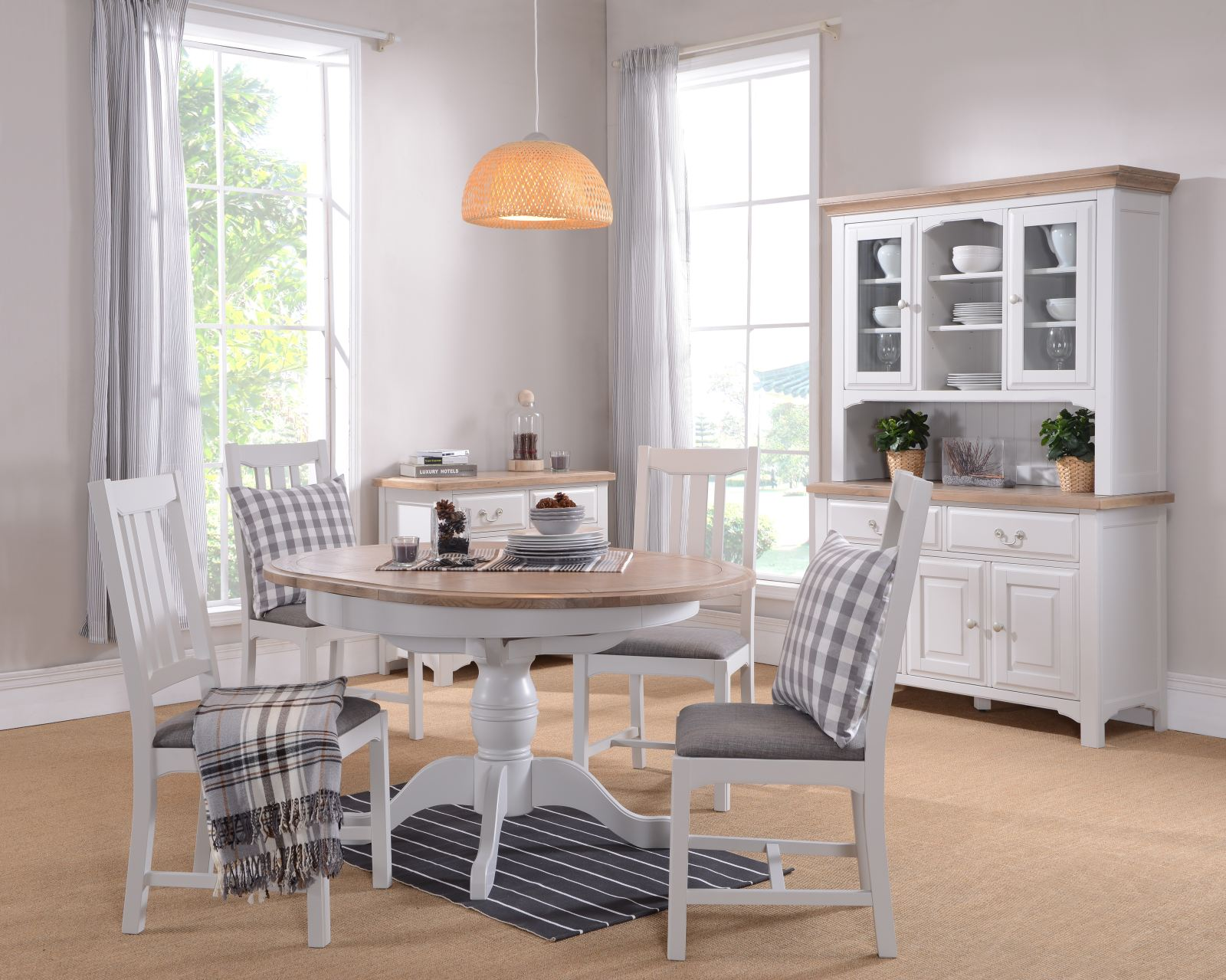 Grey Shabby Chic Country Painted Extending Round Dining Table Oak Chunky Top