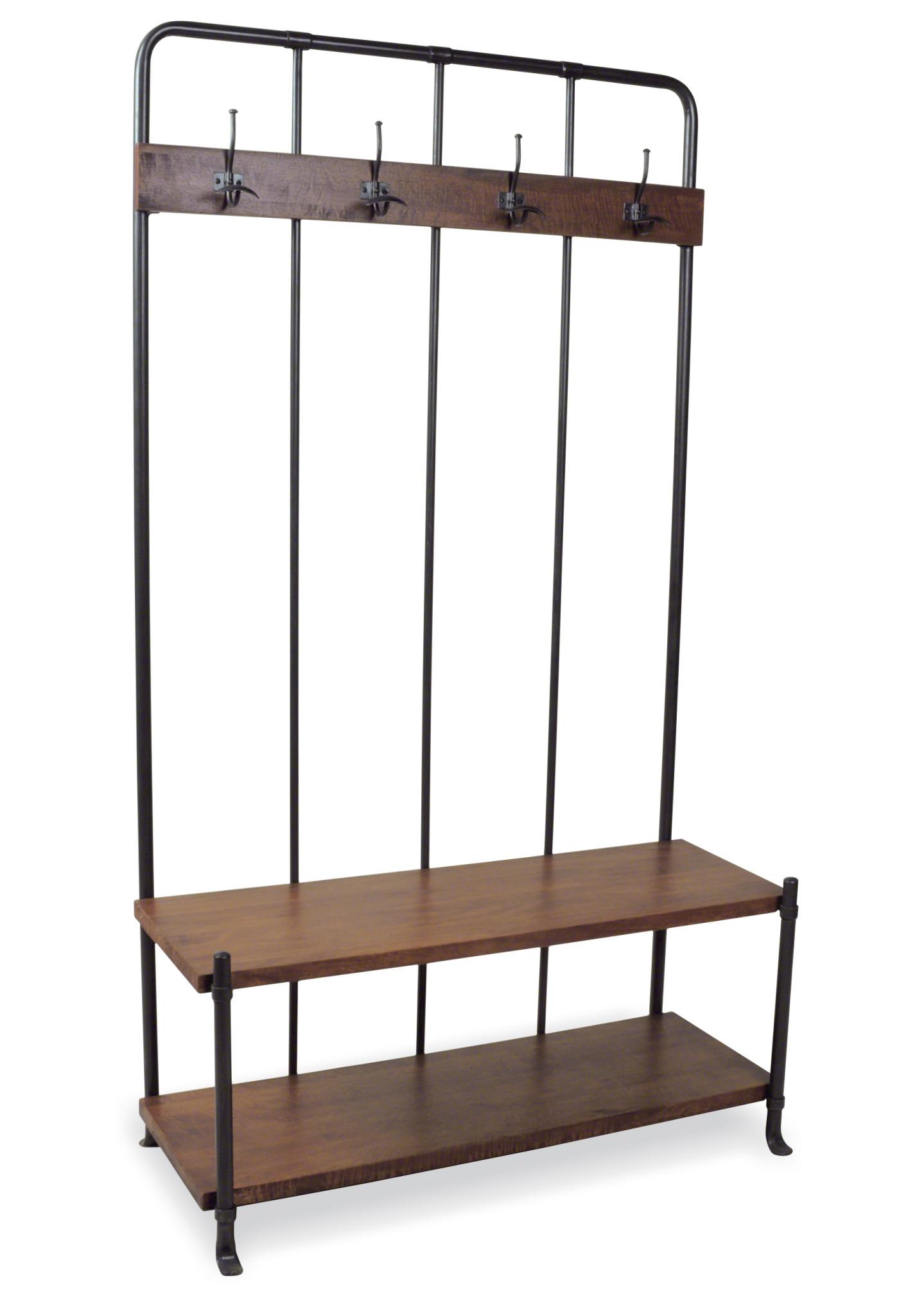Loft Rustic Re Engineered Wooden High Hall Bench Coat Rack With Steel