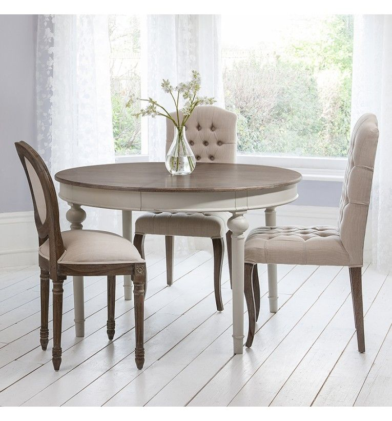 country shabby chic french cool grey round extending dining table