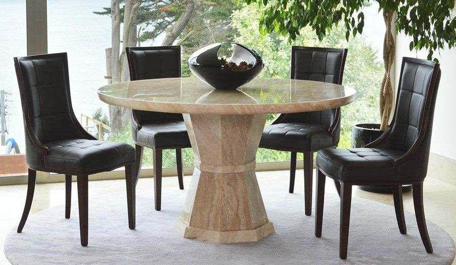Marcello cream marble round 130cms dining table for Cream round dining table