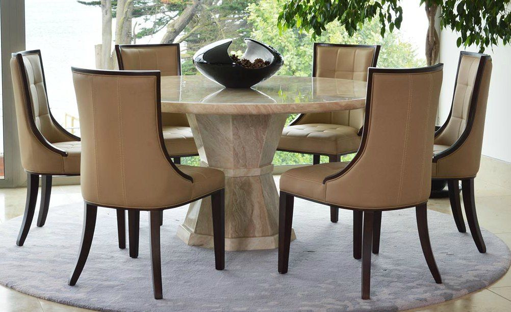 Marcello cream marble round 150cms dining table for Cream round dining table