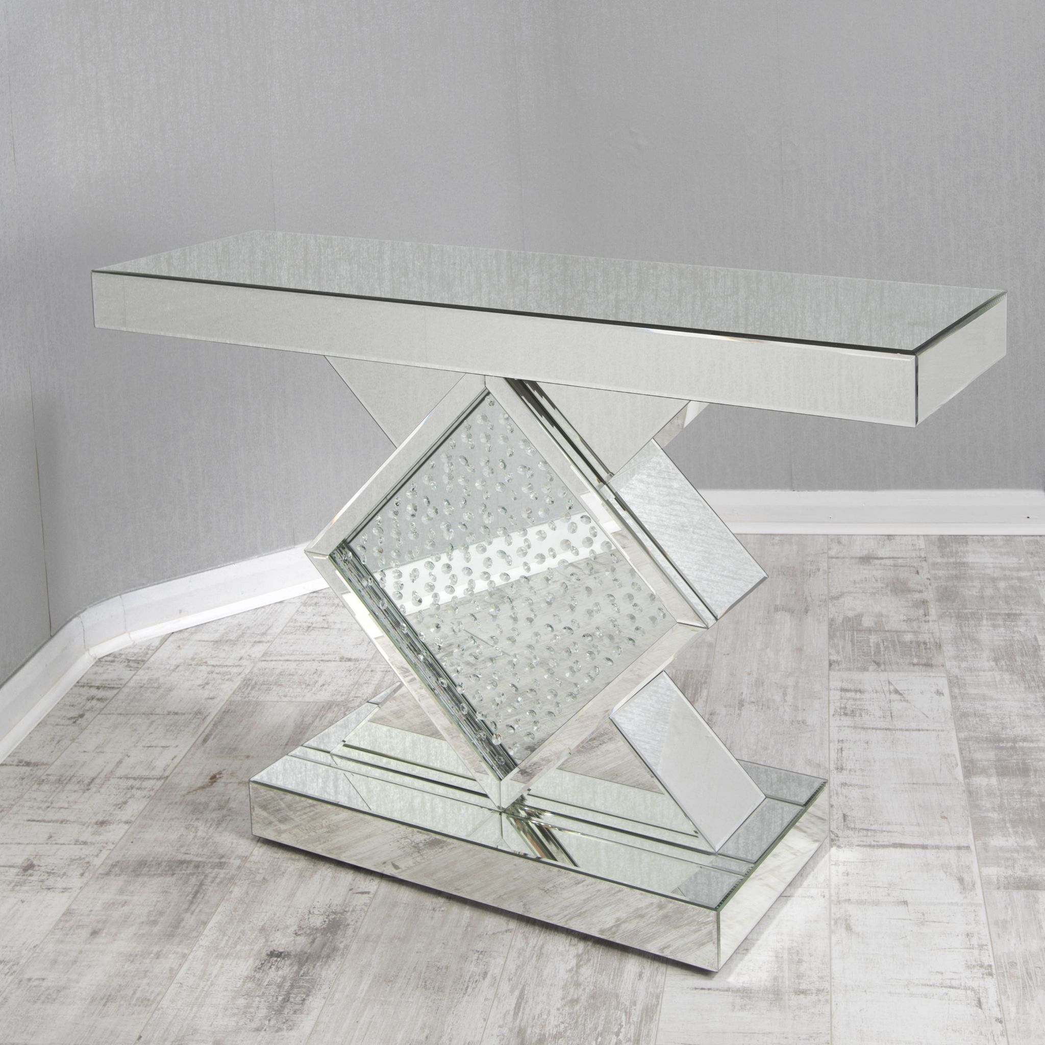 Mirrored glass floating crystal statement table Mirror glass furniture