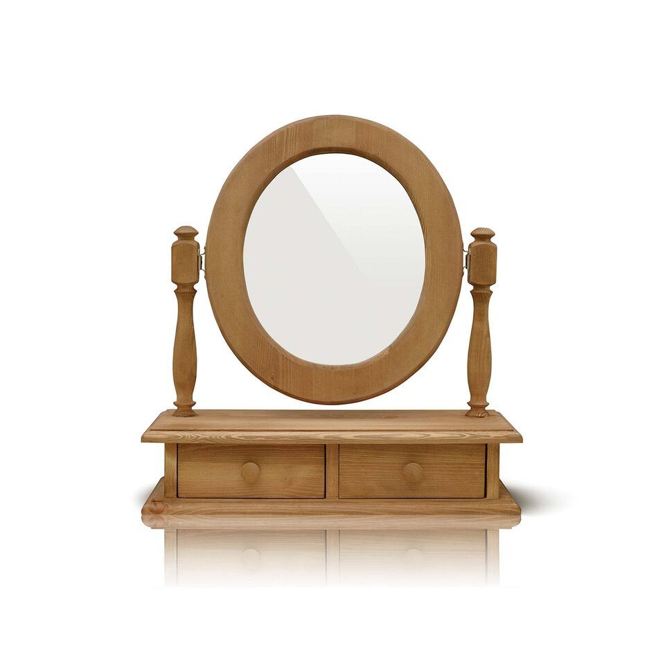 Mottisfont Country Waxed Pine Dressing Table Oval Mirror With Two Drawers