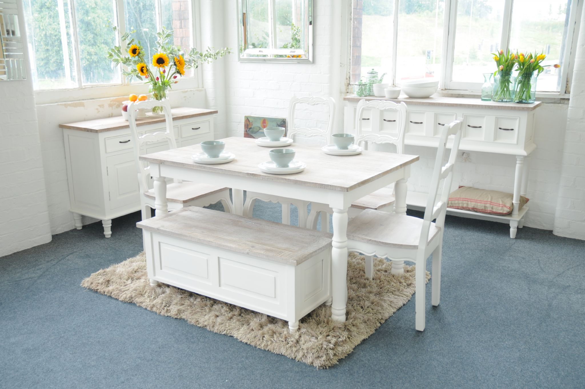 painted cottonwood shabby chic french kitchen dining table grey or white ebay. Black Bedroom Furniture Sets. Home Design Ideas