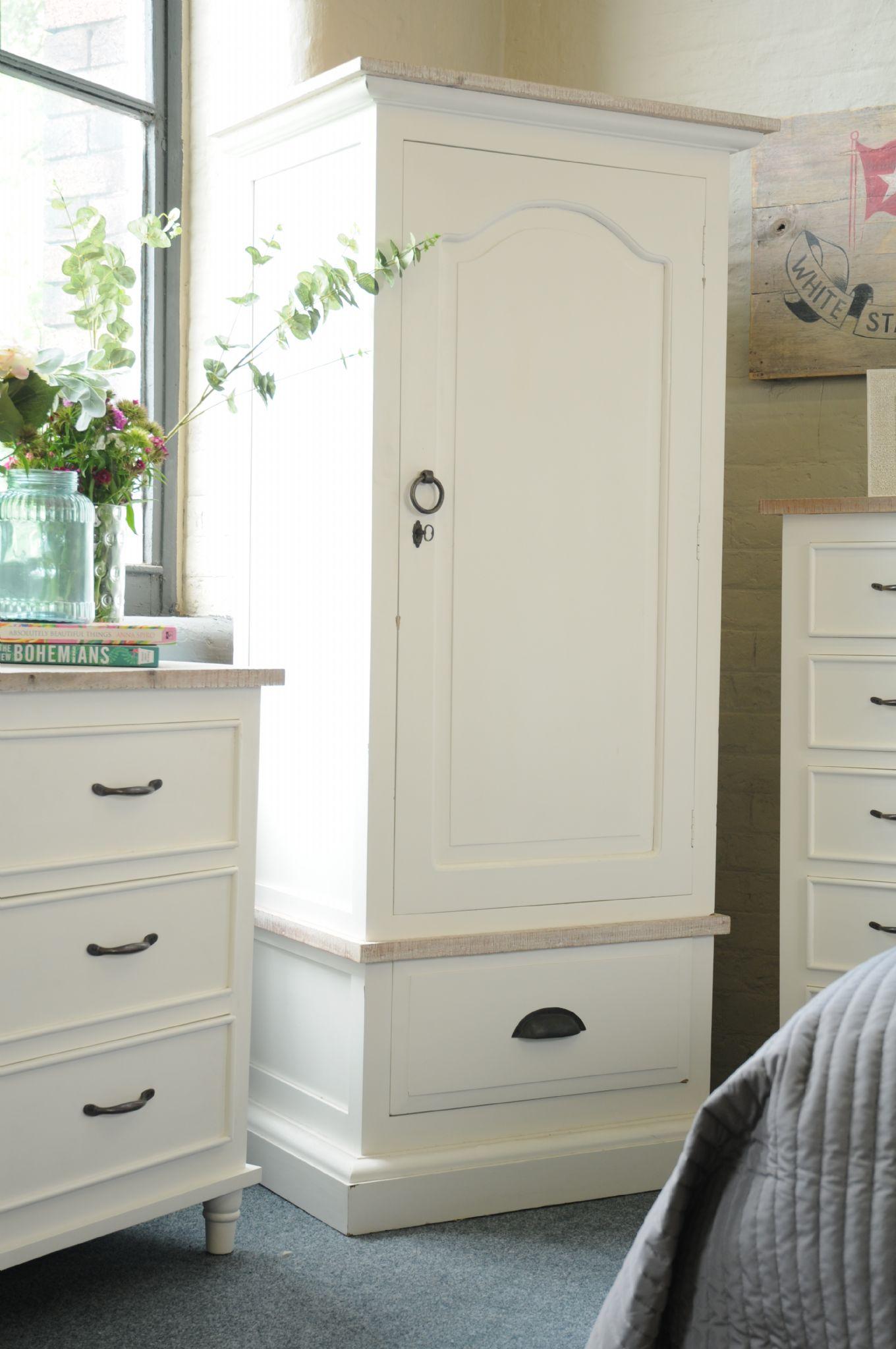 painted pine antique white single wardrobe