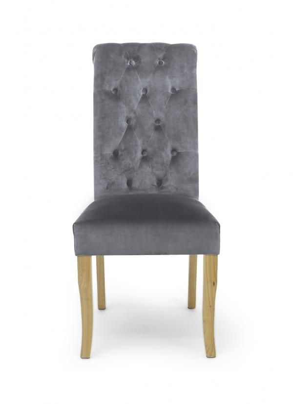 Pair Bronte Brushed Velvet Grey Dining Chairs