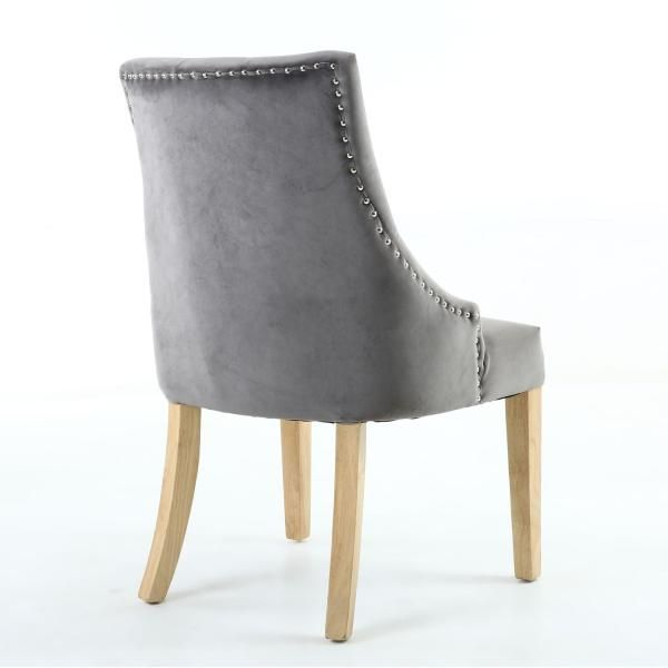 Grey buttoned back velvet dining chairs ascot oak dining chair grey velvet atlantic shopping - Atlantic shopping dining chairs ...