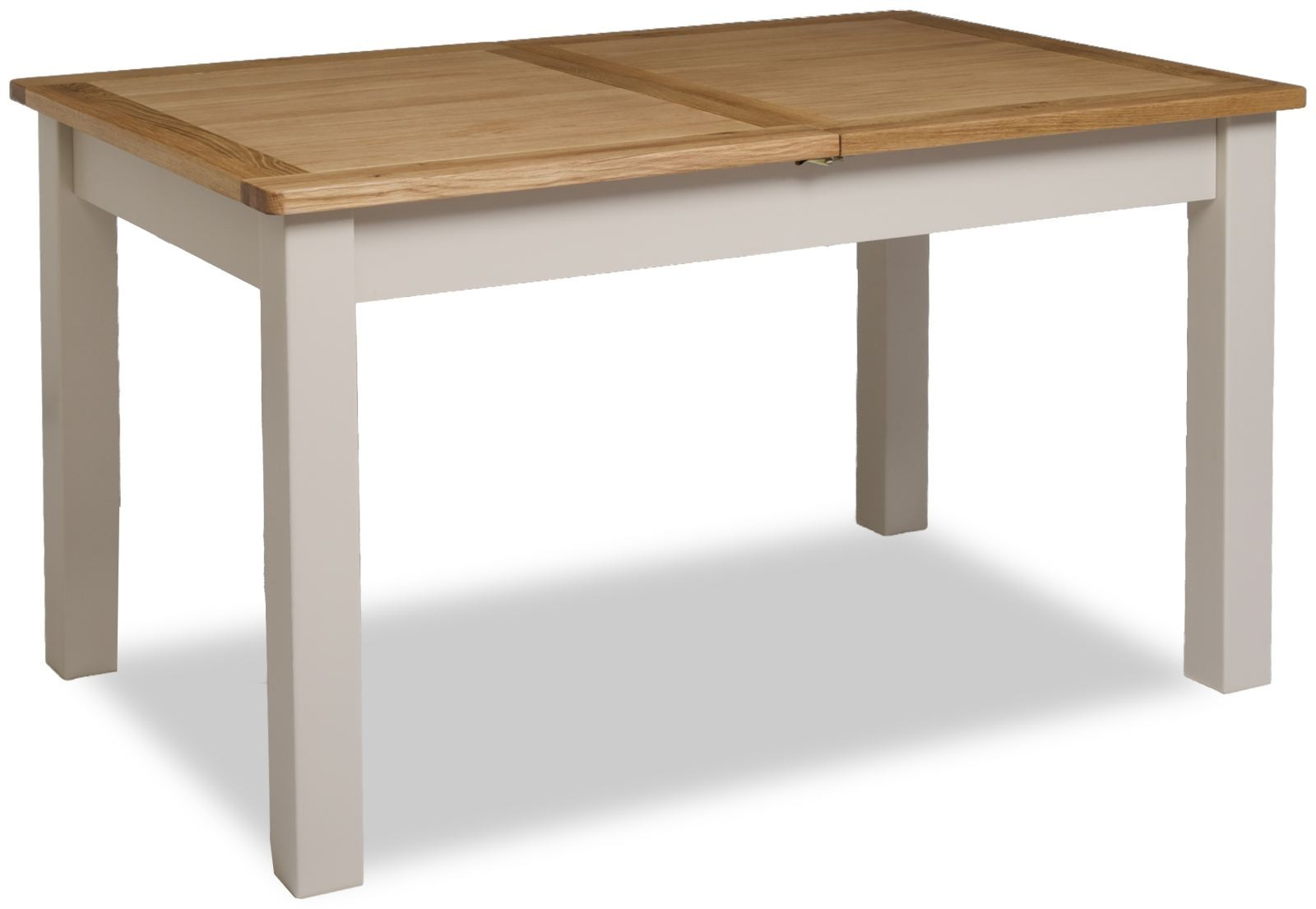 Portland Stone Grey & Oak Painted Country Extending Dining Table. Full resolution  image, nominally Width 1600 Height 1105 pixels, image with #6D4D2F.