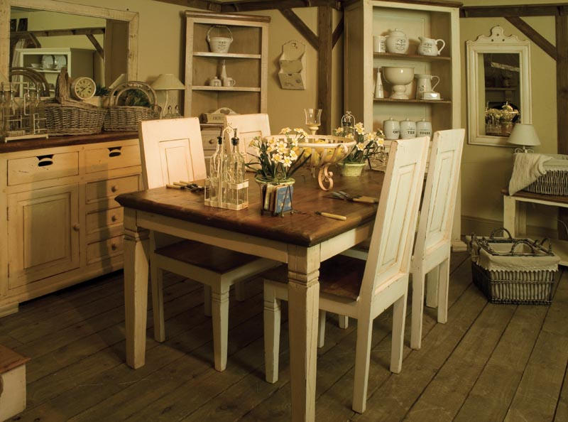 Dining table dining table cream wood for Cream dining table
