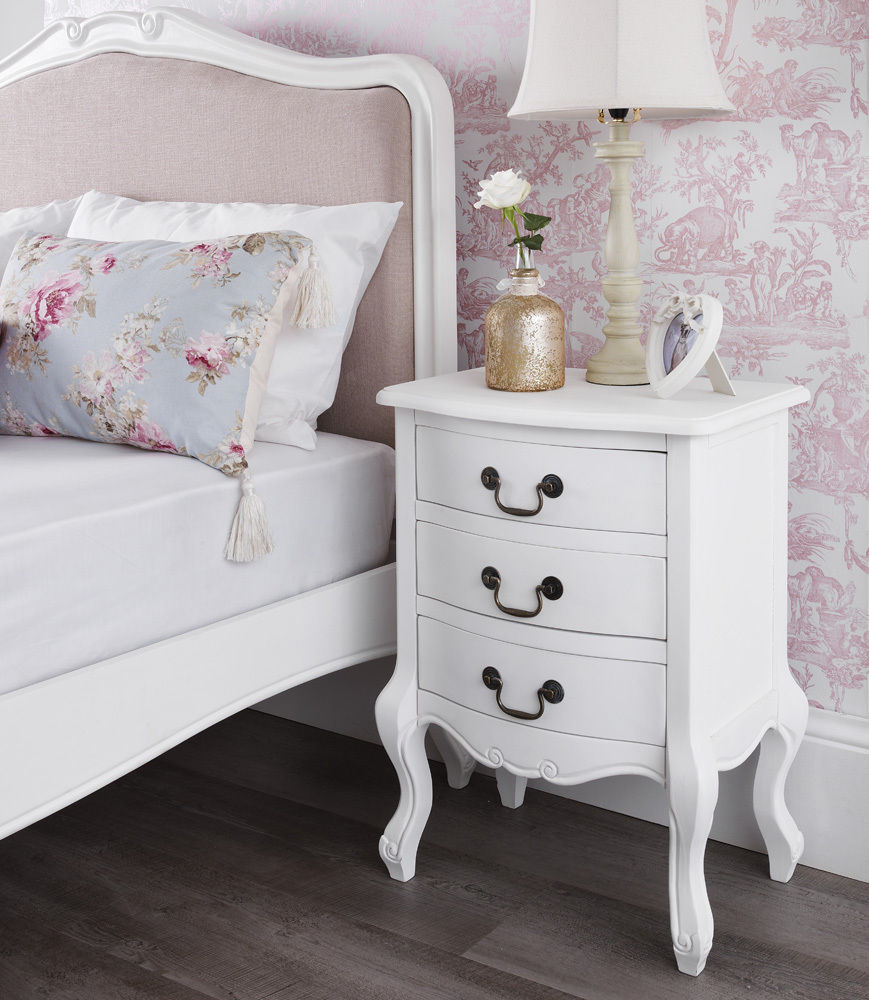 rochelle shabby chic white painted three drawer bedside table