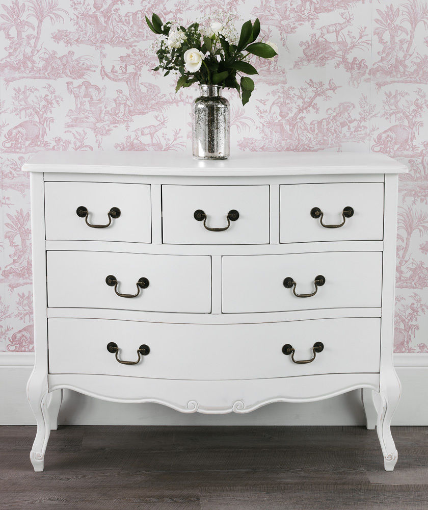 Rochelle Shabby Chic White Painted Wide Six Drawer Multi