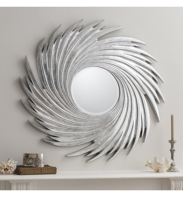 Contemporary Sandringham Silver Sunburst Wall Mirror