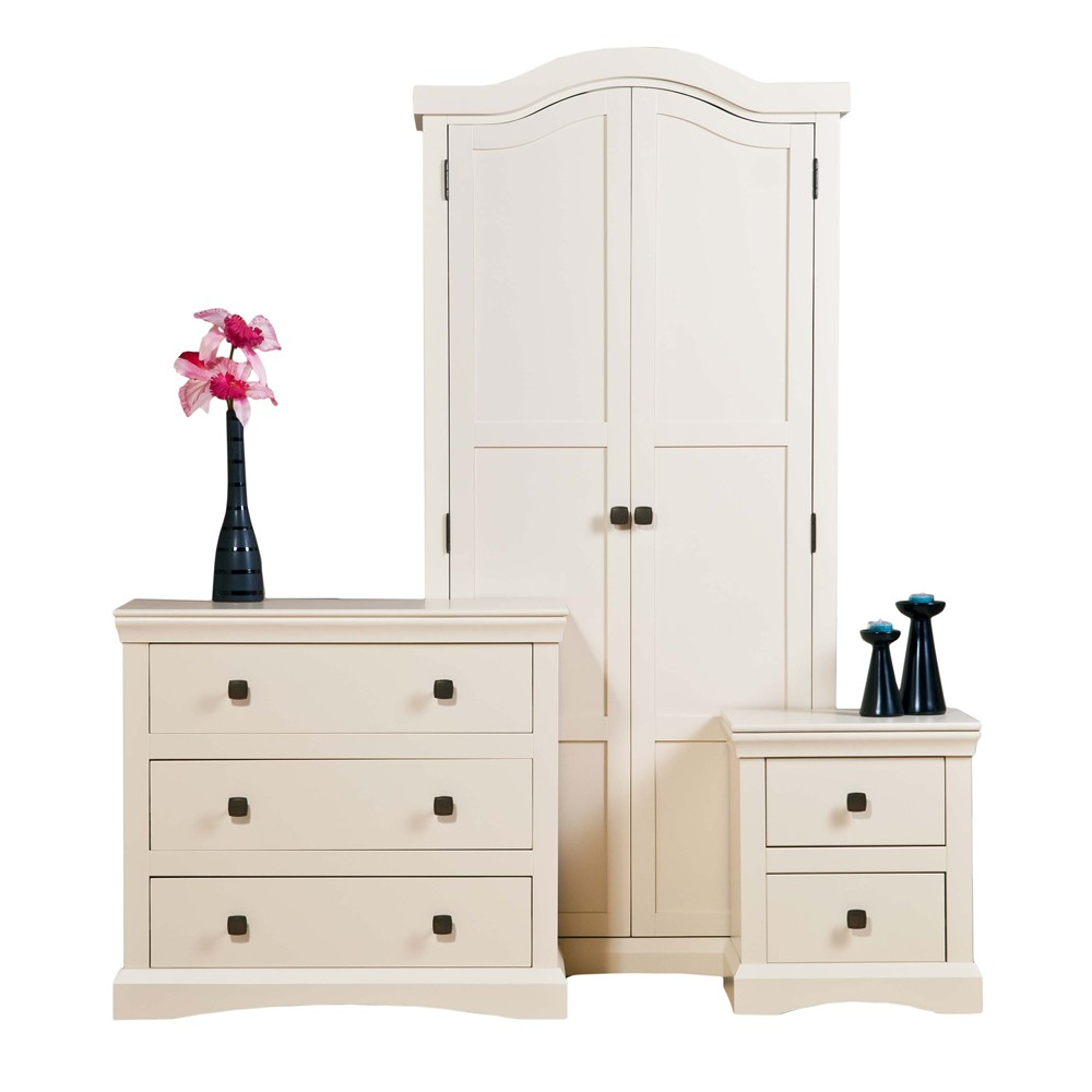Cream Painted Bedroom Set Wardrobe Chest Of Drawers Bedside Table Fast Del Ebay