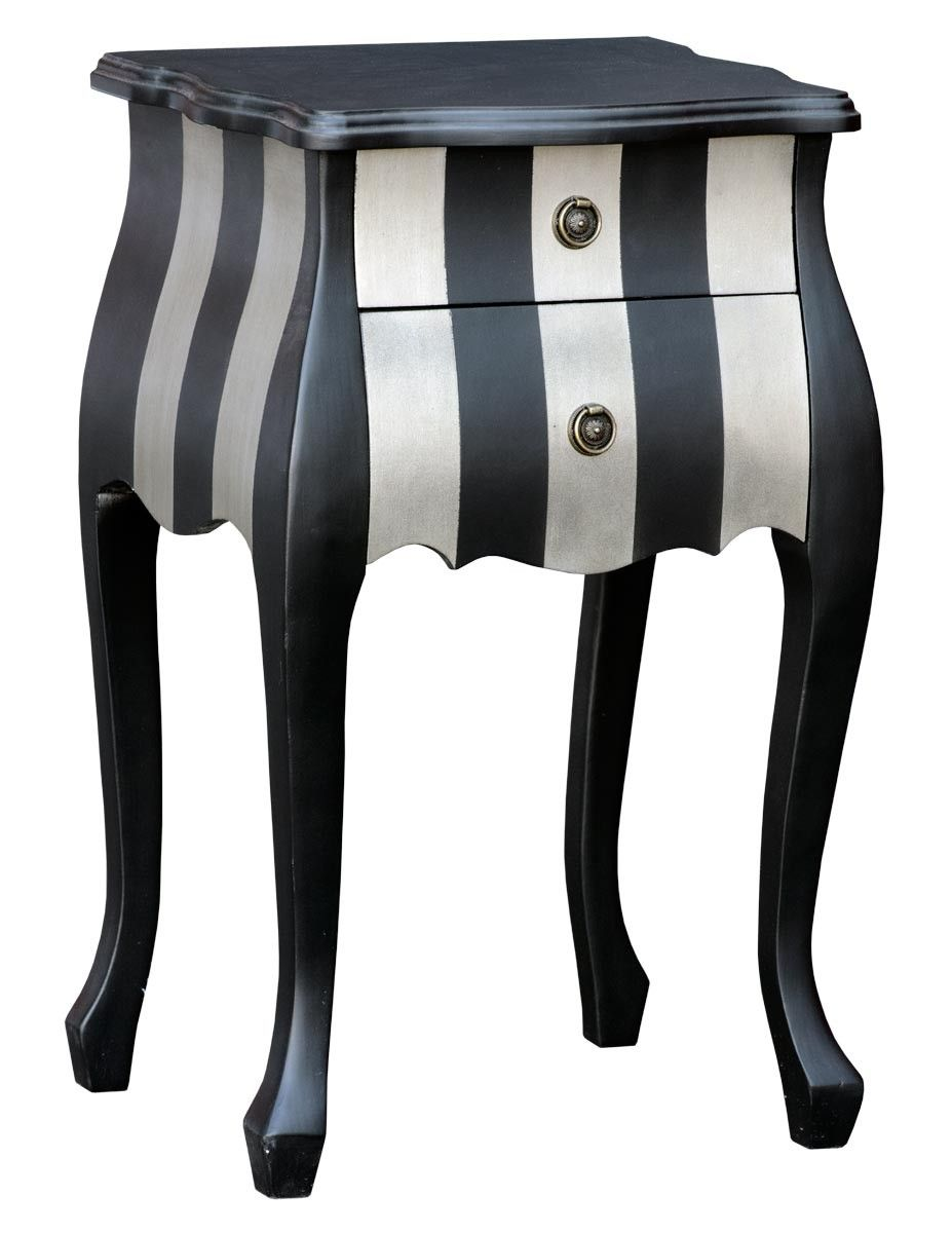 unique stripey black silver lamp bedside table with two drawers