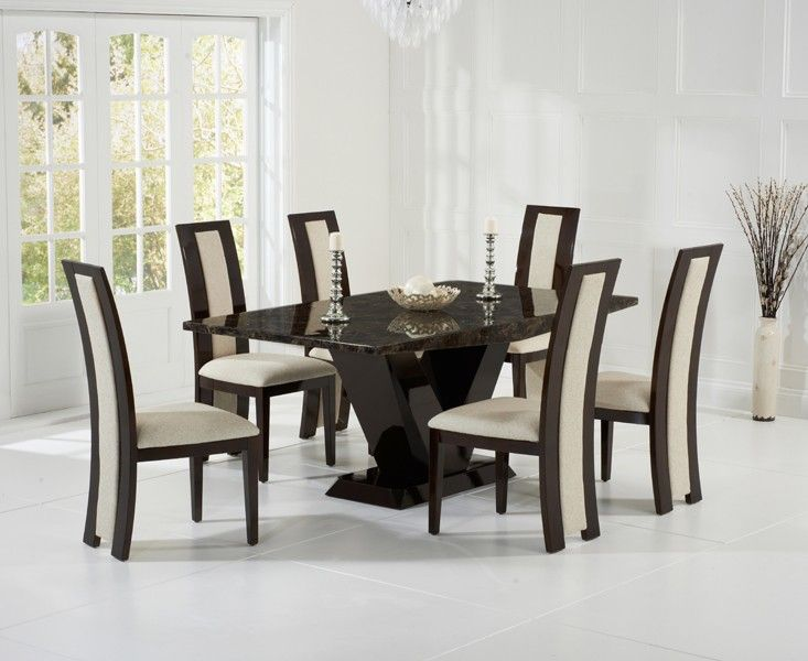 Valencie 180cm Brown Marble Dining Table amp Six Chairs : valencie 180cm brown marble dining table six chairs 70436 p from www.uniquechicfurniture.co.uk size 733 x 600 jpeg 57kB