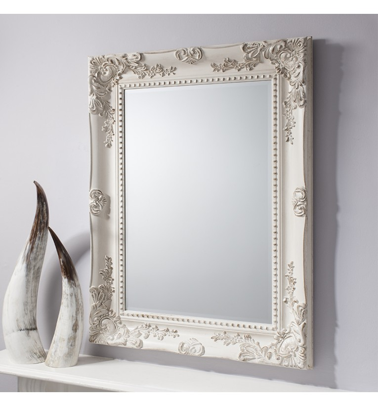 Winslet baroque shabby chic antique white vintage style for Antique style wall mirror