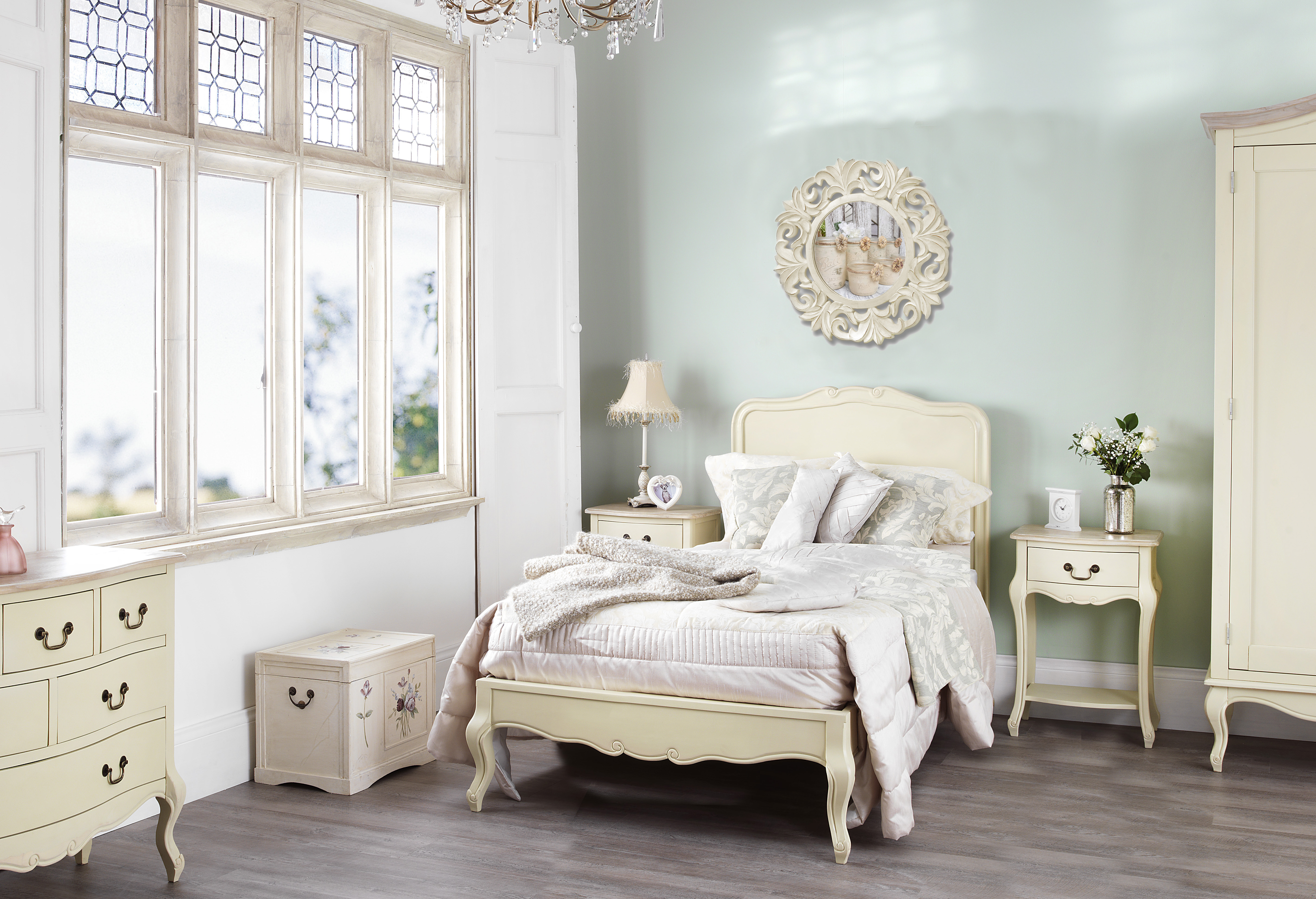 french style cream painted chest of five drawers bedroom | nottingham
